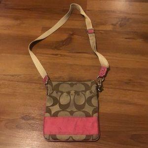 Coach Signature Stripe Swingpack Khaki Pink Stripe Crossbody Purse Bag